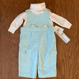 "NWT Florence Eiseman Blue ""Moving Cars"" Romper"